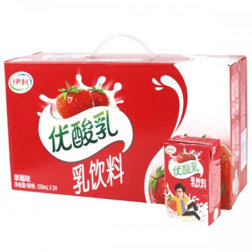 整箱伊利优酸乳草莓味250ml*24
